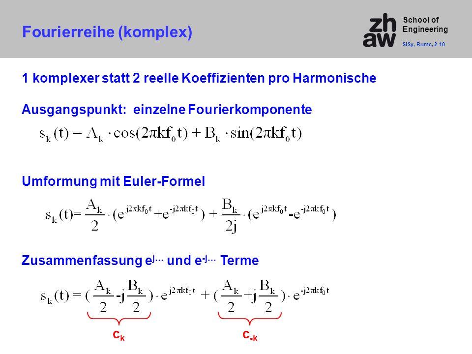 School of Engineering Fourierreihe (komplex) SiSy, Rumc, 2-10 Ausgangspunkt: einzelne Fourierkomponente Umformung mit Euler-Formel Zusammenfassung e j
