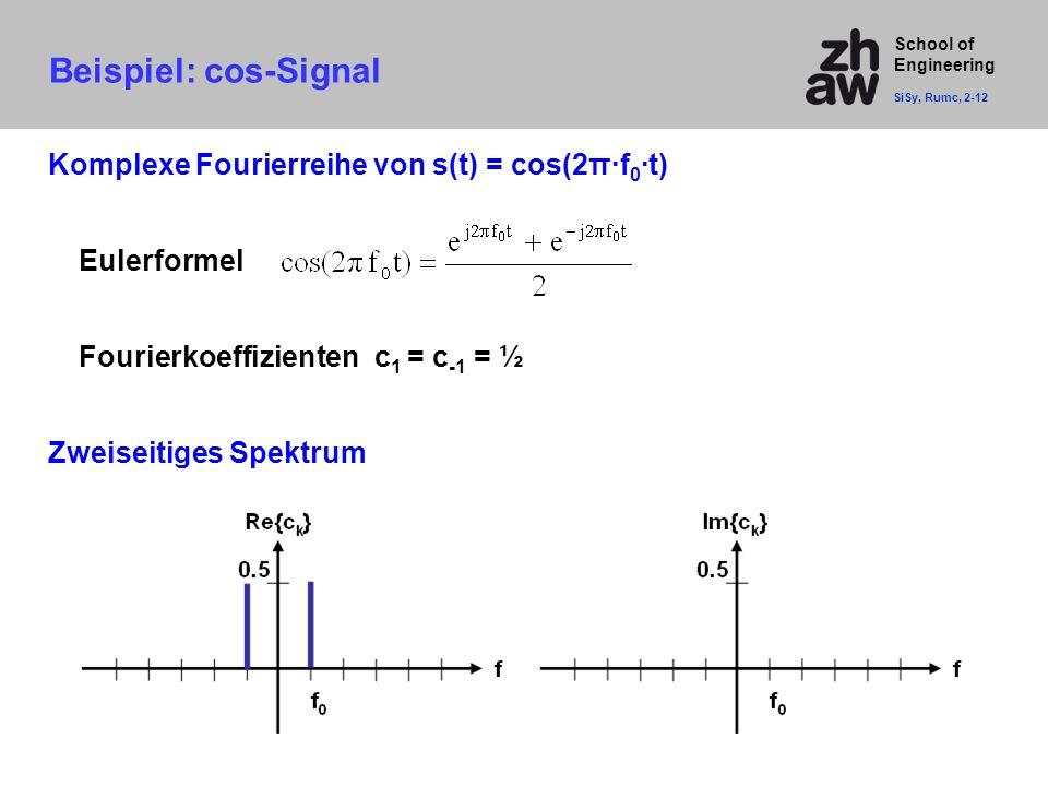 School of Engineering Beispiel: cos-Signal SiSy, Rumc, 2-12 Komplexe Fourierreihe von s(t) = cos(2π·f 0 ·t) Eulerformel Fourierkoeffizienten c 1 = c -