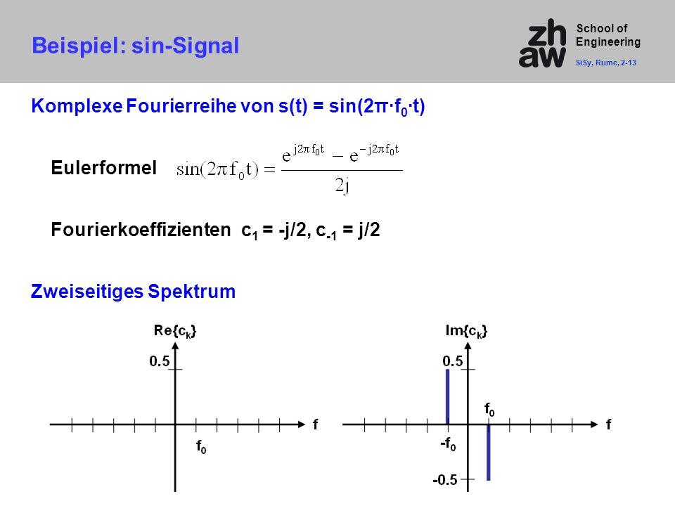 School of Engineering Beispiel: sin-Signal SiSy, Rumc, 2-13 Komplexe Fourierreihe von s(t) = sin(2π·f 0 ·t) Eulerformel Fourierkoeffizienten c 1 = -j/