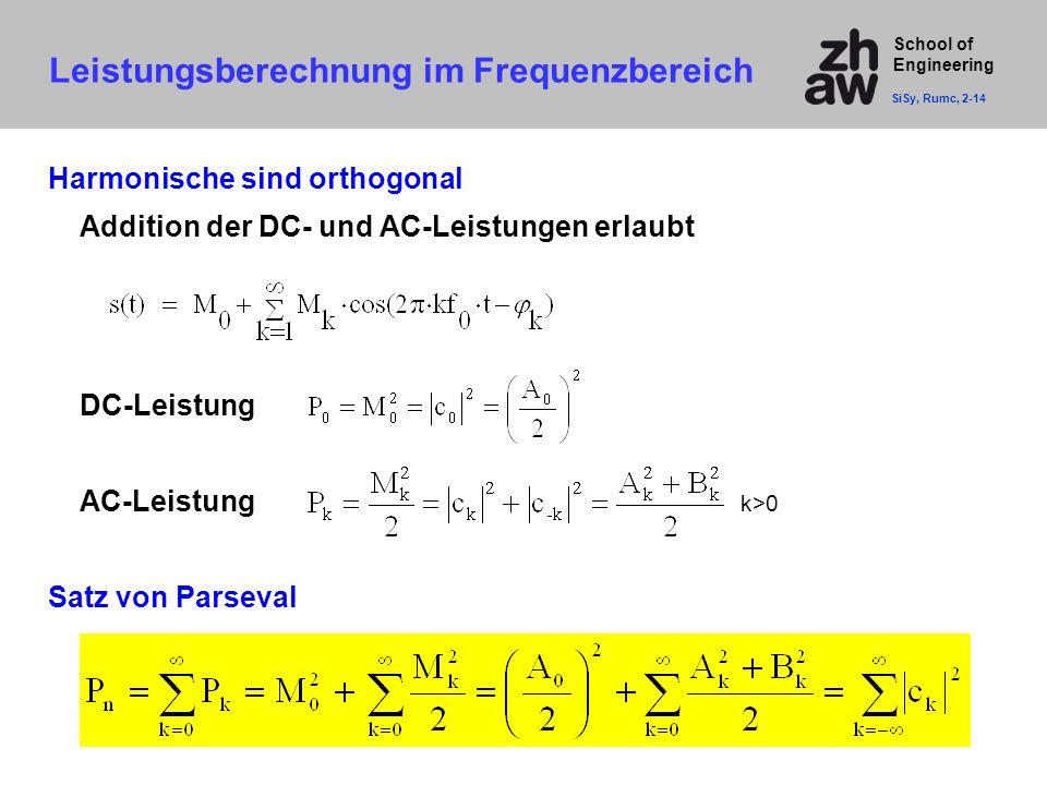 School of Engineering Leistungsberechnung im Frequenzbereich SiSy, Rumc, 2-14 Harmonische sind orthogonal Addition der DC- und AC-Leistungen erlaubt D