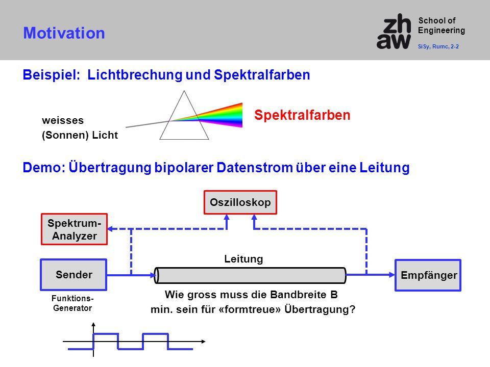 School of Engineering Demo: Übertragung bipolarer Datenstrom über eine Leitung Funktions- Generator Oszilloskop Leitung Motivation SiSy, Rumc, 2-2 Bei