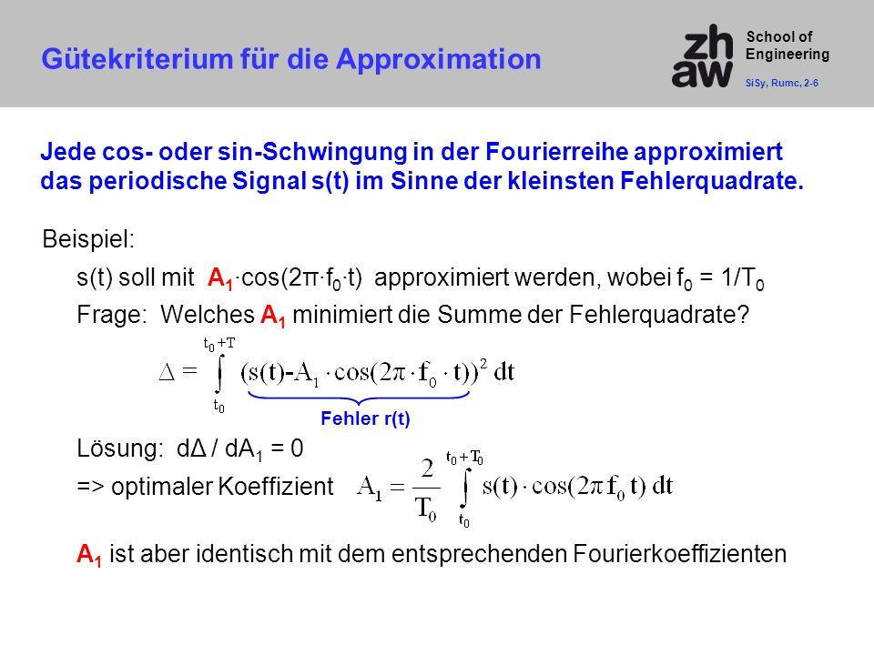 School of Engineering Gütekriterium für die Approximation SiSy, Rumc, 2-6 Jede cos- oder sin-Schwingung in der Fourierreihe approximiert das periodisc