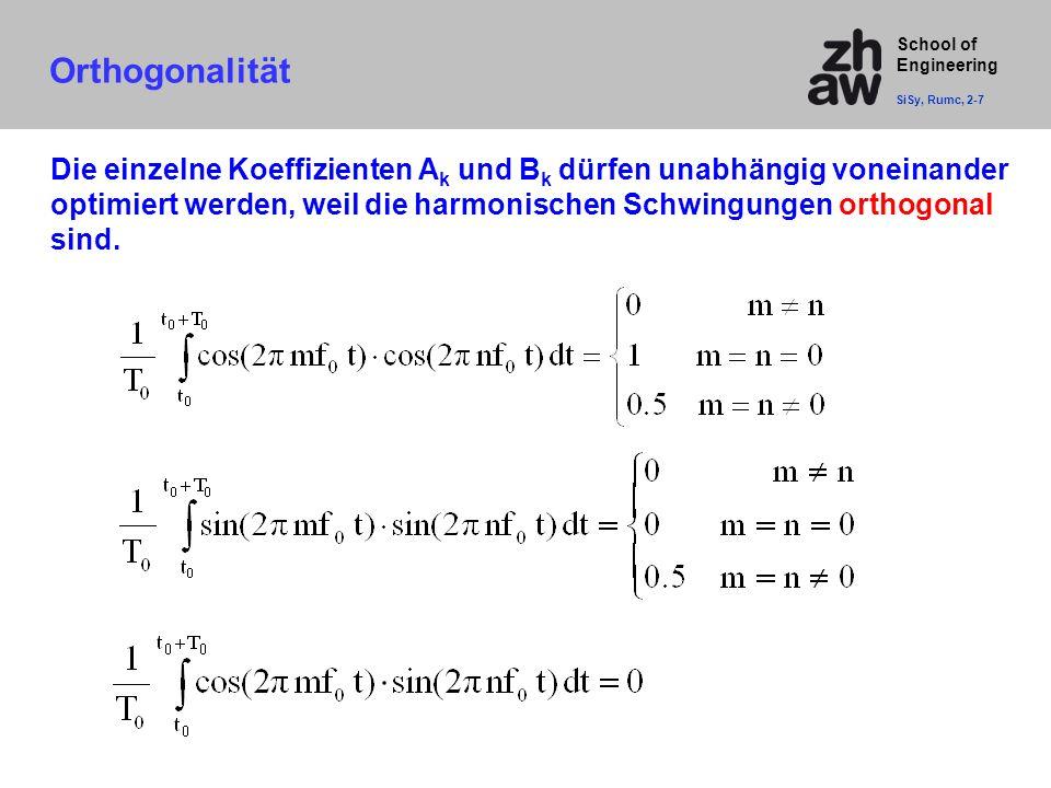 School of Engineering Orthogonalität SiSy, Rumc, 2-7 Die einzelne Koeffizienten A k und B k dürfen unabhängig voneinander optimiert werden, weil die h