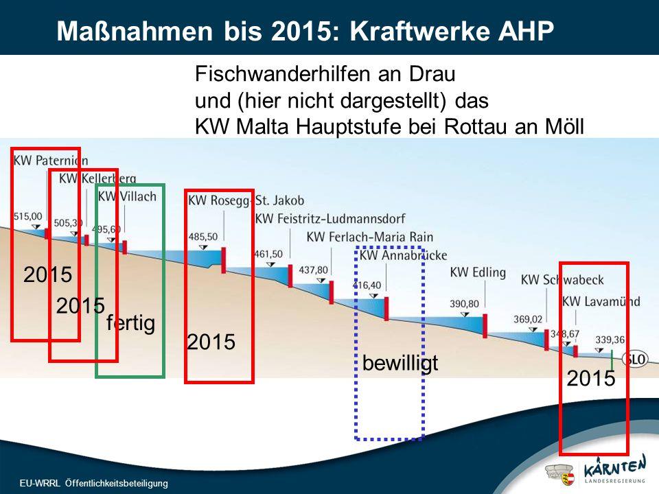 14 EU-WRRL Öffentlichkeitsbeteiligung Fischwanderhilfen an Drau und (hier nicht dargestellt) das KW Malta Hauptstufe bei Rottau an Möll Maßnahmen bis 2015: Kraftwerke AHP fertig 2015 bewilligt