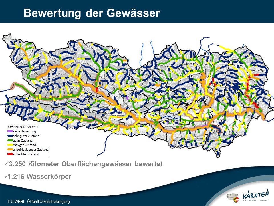 8 EU-WRRL Öffentlichkeitsbeteiligung Bewertung der Gewässer 3.250 Kilometer Oberflächengewässer bewertet 1.216 Wasserkörper