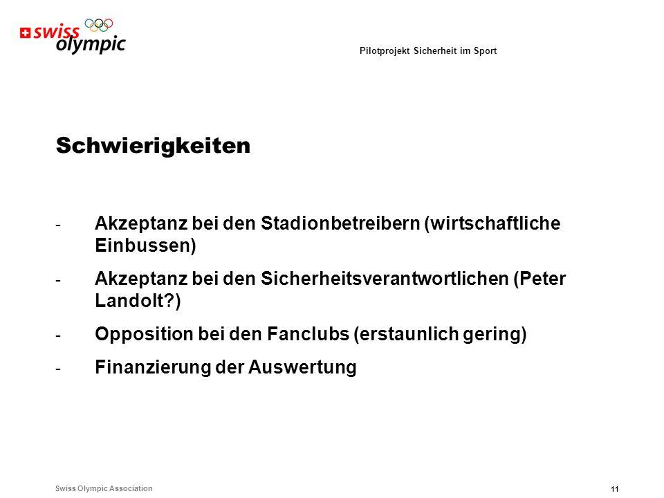Swiss Olympic Association 11 Pilotprojekt Sicherheit im Sport Schwierigkeiten - Akzeptanz bei den Stadionbetreibern (wirtschaftliche Einbussen) - Akzeptanz bei den Sicherheitsverantwortlichen (Peter Landolt ) - Opposition bei den Fanclubs (erstaunlich gering) - Finanzierung der Auswertung