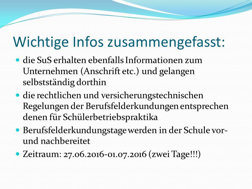 Wichtige Infos zusammengefasst: die SuS erhalten ebenfalls Informationen zum Unternehmen (Anschrift etc.) und gelangen selbstständig dorthin die recht