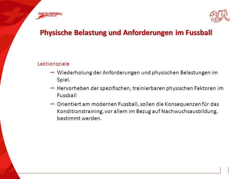 Physische Belastung und Anforderungen im Fussball Physische Belastung und Anforderungen im Fussball Lektionsziele  Wiederholung der Anforderungen und physischen Belastungen im Spiel.