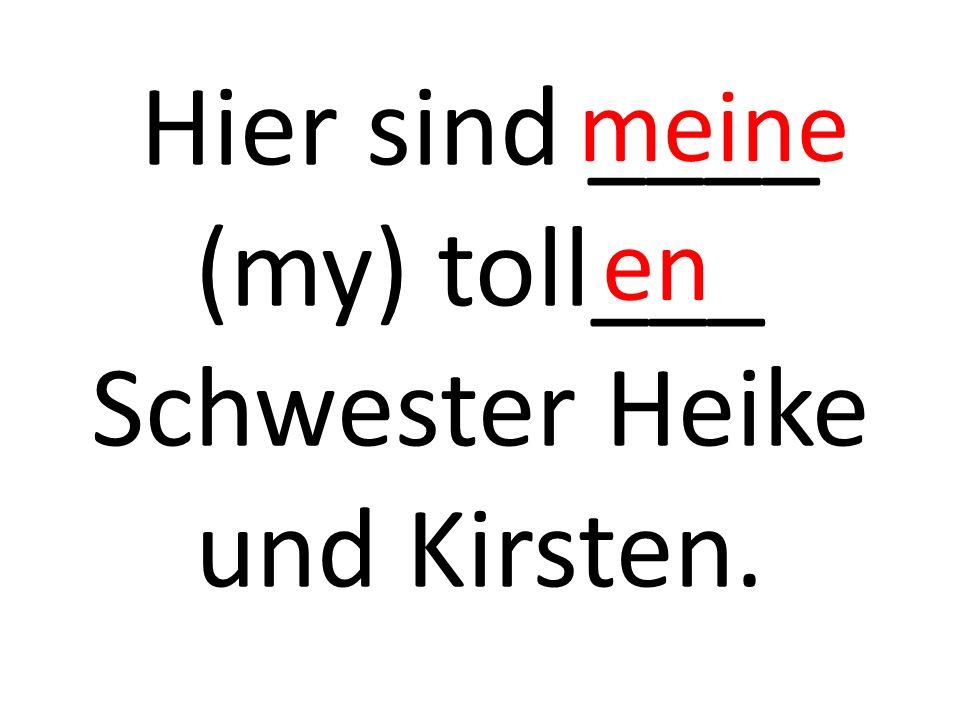 Hier sind ____ (my) toll___ Schwester Heike und Kirsten. meine en