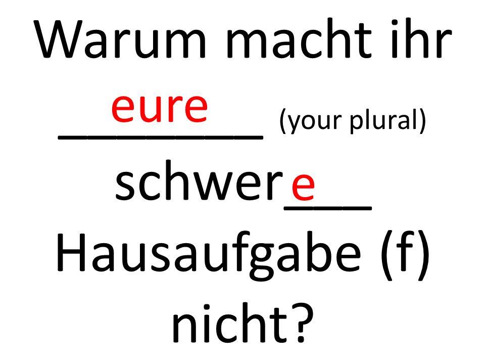 Warum macht ihr _______ (your plural) schwer___ Hausaufgabe (f) nicht? eure e
