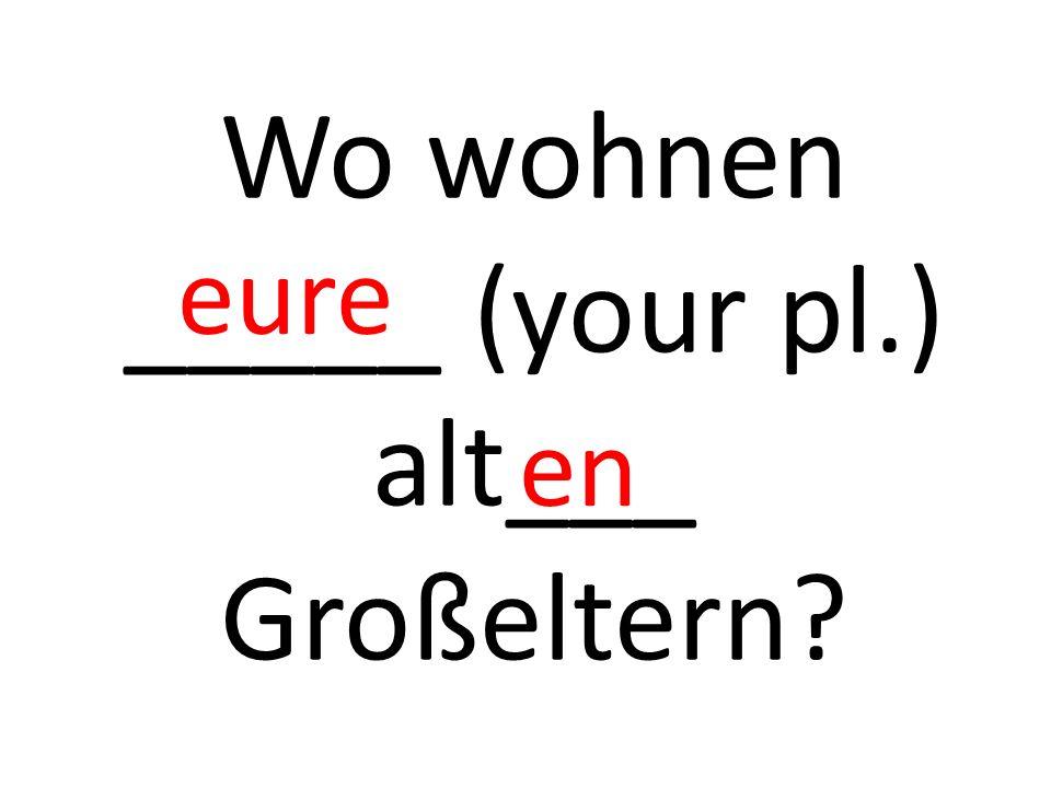 Wo wohnen _____ (your pl.) alt___ Großeltern eure en