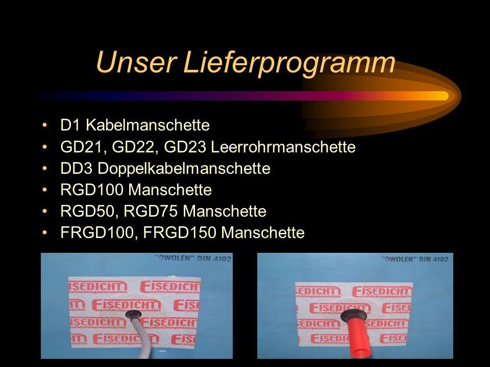 Unser Lieferprogramm D1 Kabelmanschette GD21, GD22, GD23 Leerrohrmanschette DD3 Doppelkabelmanschette RGD100 Manschette RGD50, RGD75 Manschette FRGD100, FRGD150 Manschette