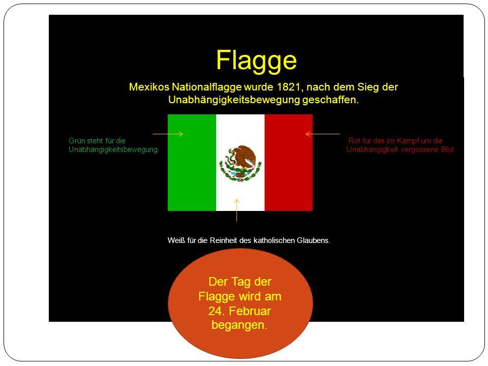 Flagge Mexikos Nationalflagge wurde 1821, nach dem Sieg der Unabhängigkeitsbewegung geschaffen.