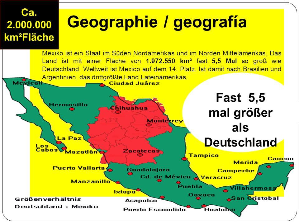 Allgemein / general Lebenserwartung bei Geburt: 75,41 Durchschnittsalter: 25,3 Einwohner pro Arzt in Mexiko: 621 Bevölkerungswachstum pro Jahr von Mexiko: 1,4 % Kindersterblichkeit von Mexiko: 3,3 % Alphabetisierung von Mexiko: 91,1 % Altersaufbau von Mexiko: 0-14 Jahre: 31,6% 15-64 Jahre: 62,9% ab 65 Jahre: 5,5%