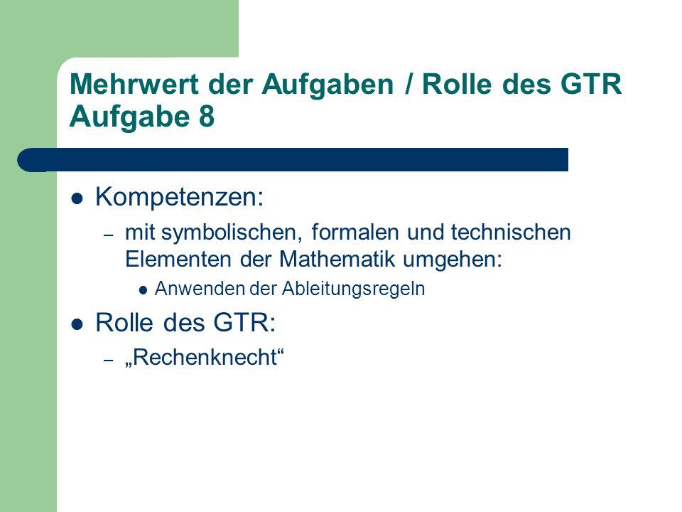 """Mehrwert der Aufgaben / Rolle des GTR Aufgabe 8 Kompetenzen: – mit symbolischen, formalen und technischen Elementen der Mathematik umgehen: Anwenden der Ableitungsregeln Rolle des GTR: – """"Rechenknecht"""
