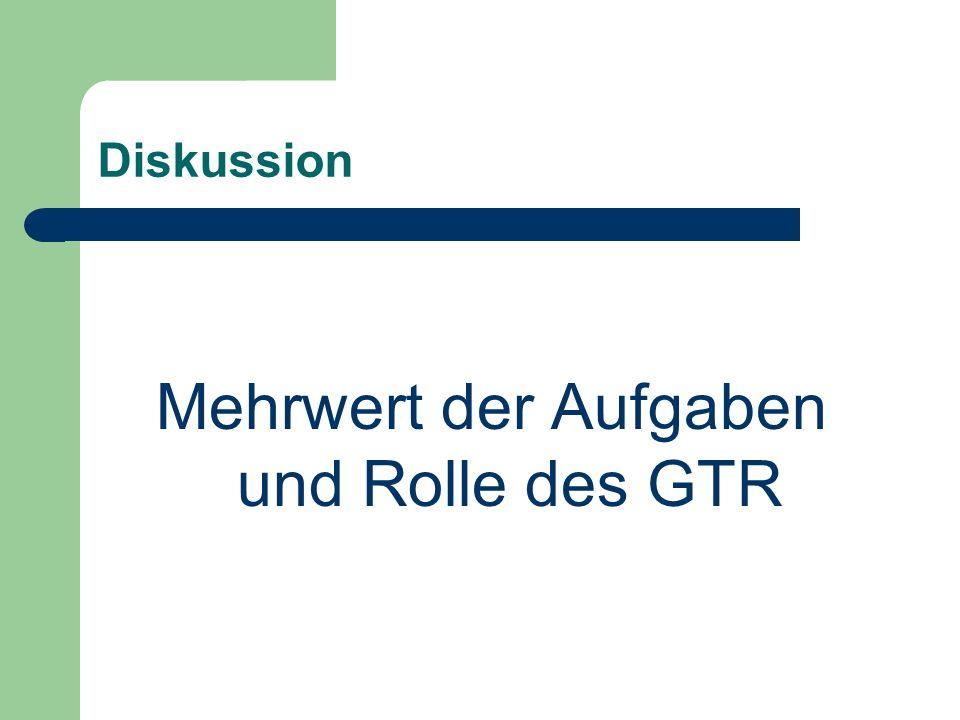Diskussion Mehrwert der Aufgaben und Rolle des GTR