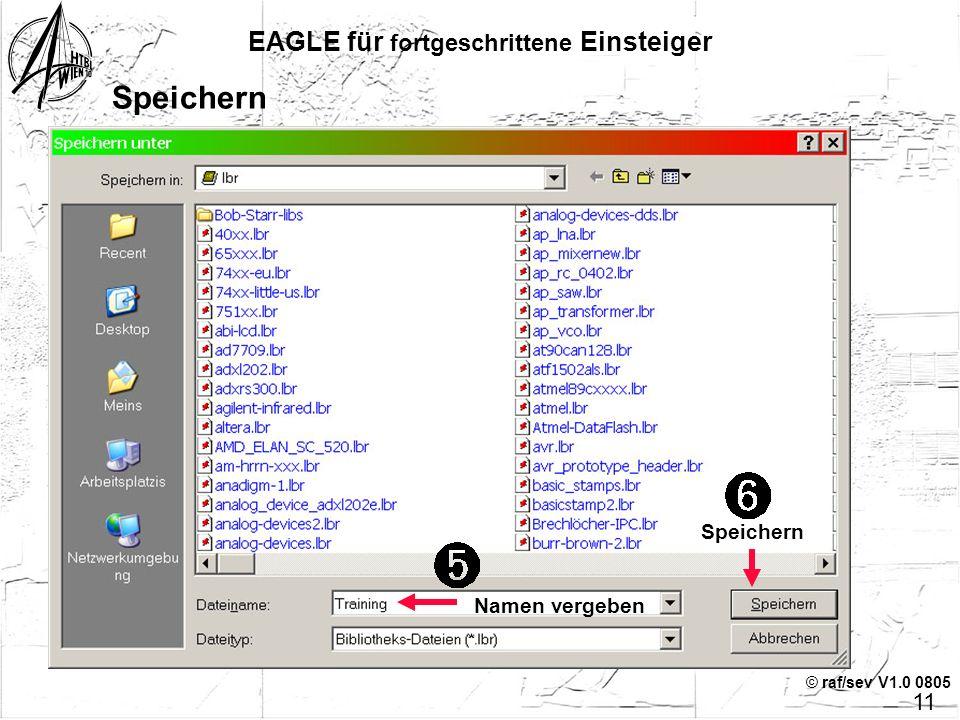 © raf/sev V1.0 0805 Click, Drag 'n Drop EAGLE für fortgeschrittene Einsteiger Quelle (Control-Panel)Ziel (eigene, neue Bibliothek) Bauteil wählen Mit
