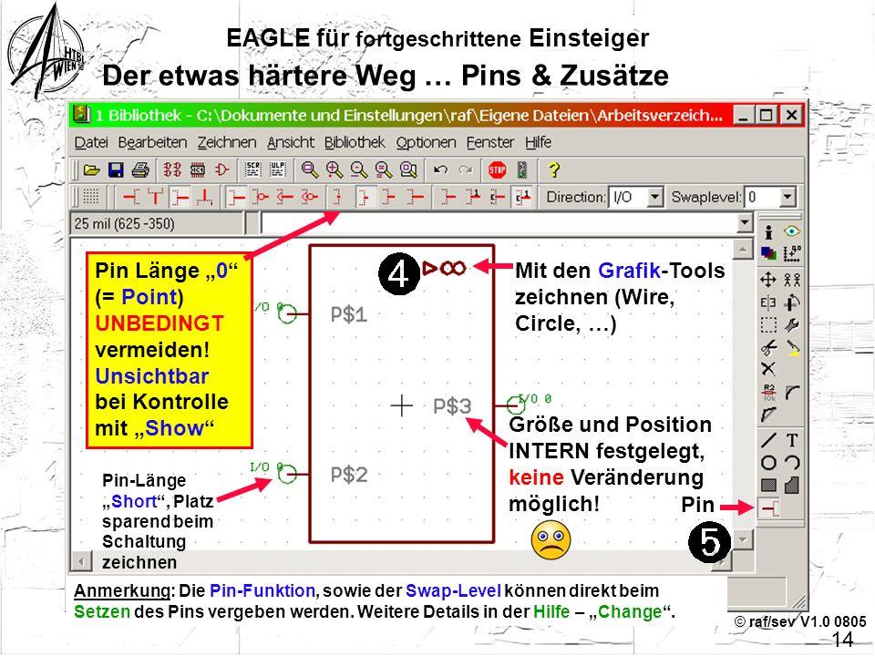 © raf/sev V1.0 0805 13 EAGLE für fortgeschrittene Einsteiger Der etwas härtere Weg … Symbol zeichnen Wire mil Strichbreite Layer Symbol- Umrandung zei