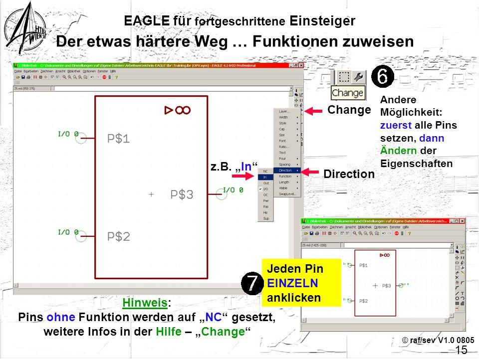 © raf/sev V1.0 0805 14 EAGLE für fortgeschrittene Einsteiger Der etwas härtere Weg … Pins & Zusätze Mit den Grafik-Tools zeichnen (Wire, Circle, …) Pi