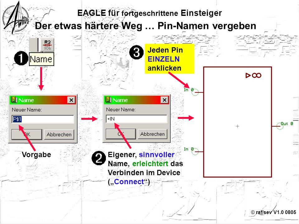 """© raf/sev V1.0 0805 15 EAGLE für fortgeschrittene Einsteiger Der etwas härtere Weg … Funktionen zuweisen Change z.B. """"In"""" Direction Hinweis: Pins ohne"""