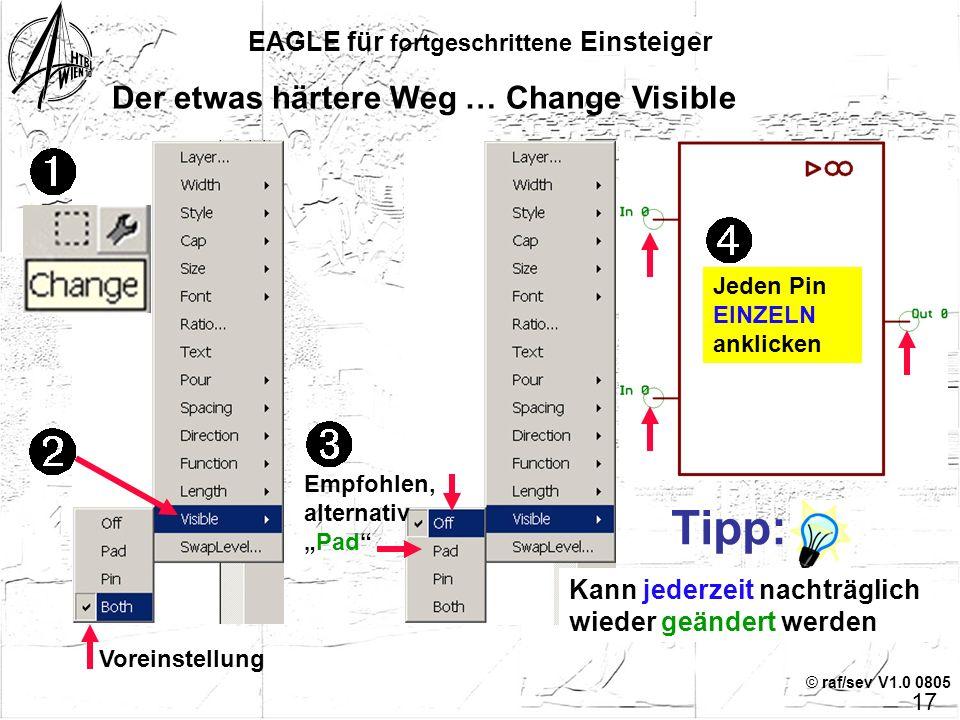 © raf/sev V1.0 0805 EAGLE für fortgeschrittene Einsteiger Der etwas härtere Weg … Pin-Namen vergeben Jeden Pin EINZELN anklicken Eigener, sinnvoller N