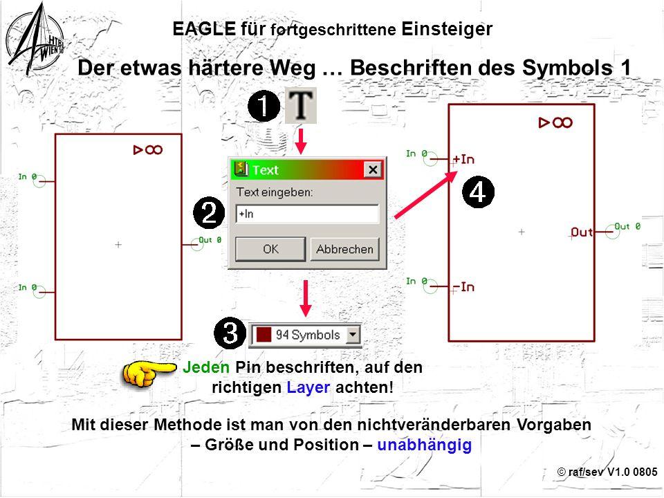"""© raf/sev V1.0 0805 Der etwas härtere Weg … Change Visible 17 EAGLE für fortgeschrittene Einsteiger Empfohlen, alternativ """"Pad"""" Voreinstellung Jeden P"""