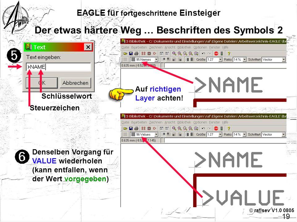 © raf/sev V1.0 0805 EAGLE für fortgeschrittene Einsteiger Der etwas härtere Weg … Beschriften des Symbols 1 Jeden Pin beschriften, auf den richtigen L