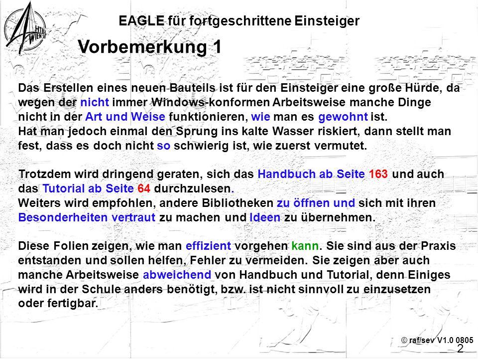 © raf/sev V1.0 0805© raf/sev V1.0 0305 Teil 4 EAGLE für fortgeschrittene Einsteiger Erstellen von Bibliotheken Referenzen: EAGLE Kurzdokumentation, Ha