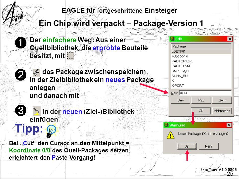 © raf/sev V1.0 0805 EAGLE für fortgeschrittene Einsteiger 24 Übersicht Kapitel 2 Ein Chip wird verpackt – Package - Version 1 – Package - Version 2 –