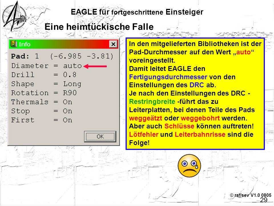 """© raf/sev V1.0 0805 EAGLE für fortgeschrittene Einsteiger 28 Ein Chip wird verpackt – Package-Version 2 Befehl """"copy"""" und 1 Leerzeichen in die Kommand"""