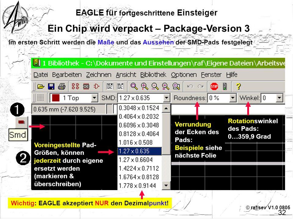 © raf/sev V1.0 0805 EAGLE für fortgeschrittene Einsteiger 31 Ein Chip wird verpackt – Package-Version 3 Der ganz harte Weg: Es ist nicht möglich, ein