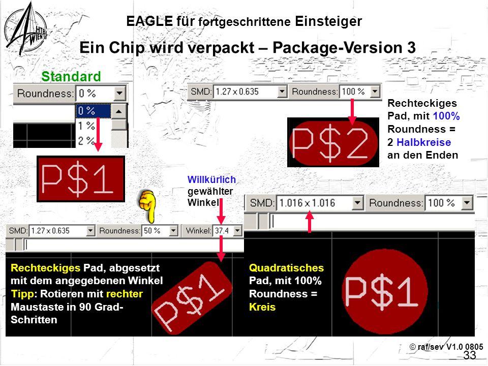 © raf/sev V1.0 0805 EAGLE für fortgeschrittene Einsteiger 32 Ein Chip wird verpackt – Package-Version 3 Im ersten Schritt werden die Maße und das Auss