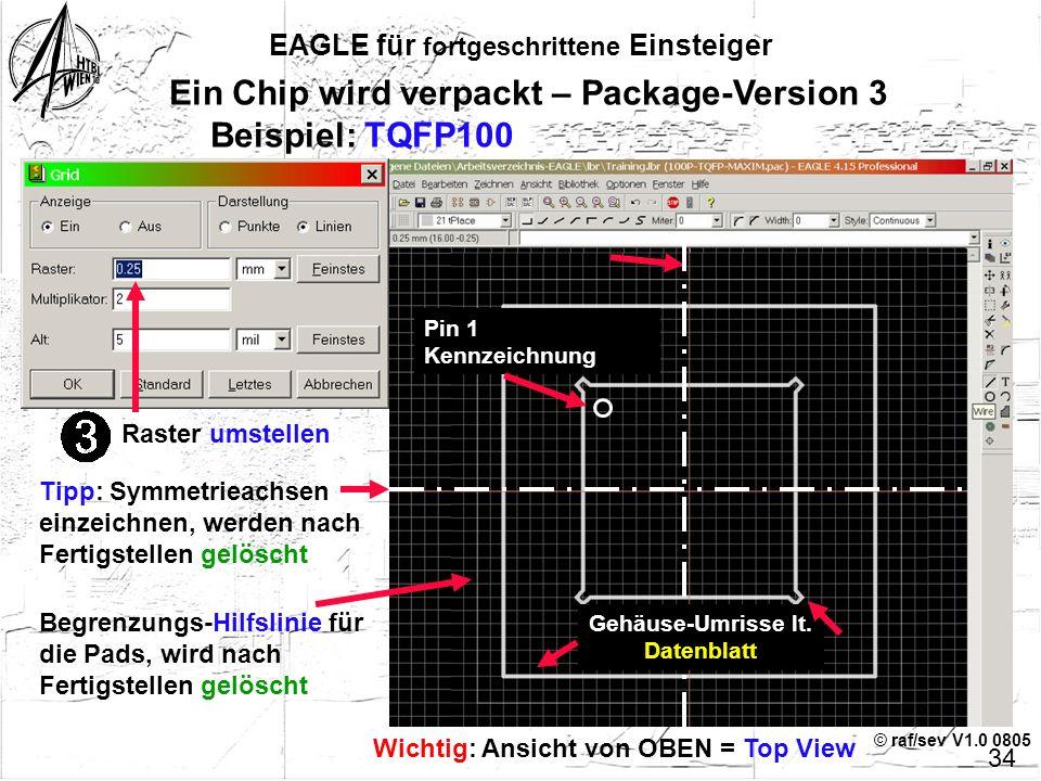 © raf/sev V1.0 0805 EAGLE für fortgeschrittene Einsteiger 33 Ein Chip wird verpackt – Package-Version 3 Rechteckiges Pad, abgesetzt mit dem angegebene