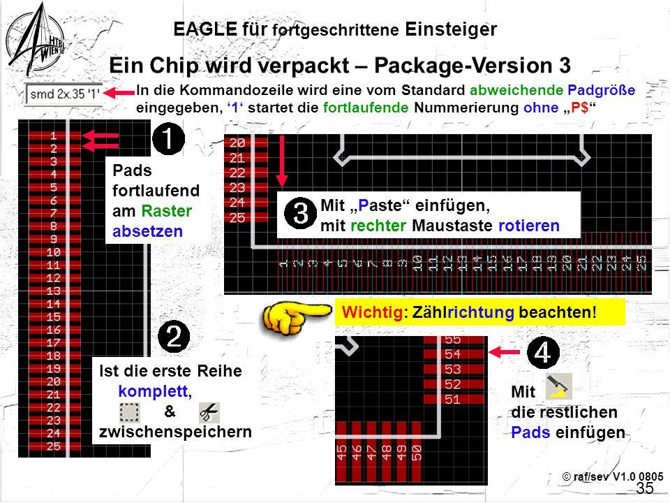 © raf/sev V1.0 0805 EAGLE für fortgeschrittene Einsteiger 34 Ein Chip wird verpackt – Package-Version 3 Beispiel: TQFP100 Raster umstellen Begrenzungs