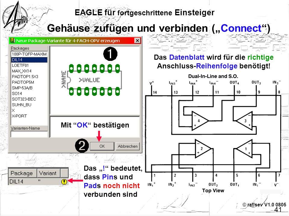 """© raf/sev V1.0 0805 """"Request"""" bedeutet, dass NUR auf Anforderung (""""INVOKE"""") die Anschlüsse in die Schaltung geholt werden EAGLE für fortgeschrittene E"""