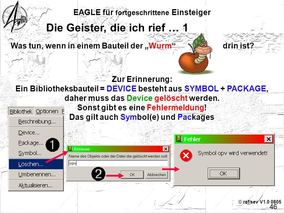 """© raf/sev V1.0 0805 EAGLE für fortgeschrittene Einsteiger 45 Beschreibung der Bibliothek editieren Zur Demonstration wurden einige Funktionen des """"Ric"""