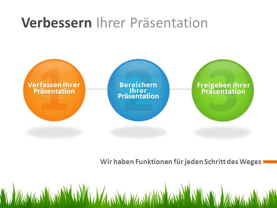 Verbessern Ihrer Präsentation Wir haben Funktionen für jeden Schritt des Weges 1 Verfassen Ihrer Präsentation 2 Bereichern Ihrer Präsentation 3 Freigeben Ihrer Präsentation