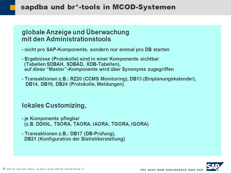  SAP AG, März 2003, Reorg. und Admin.