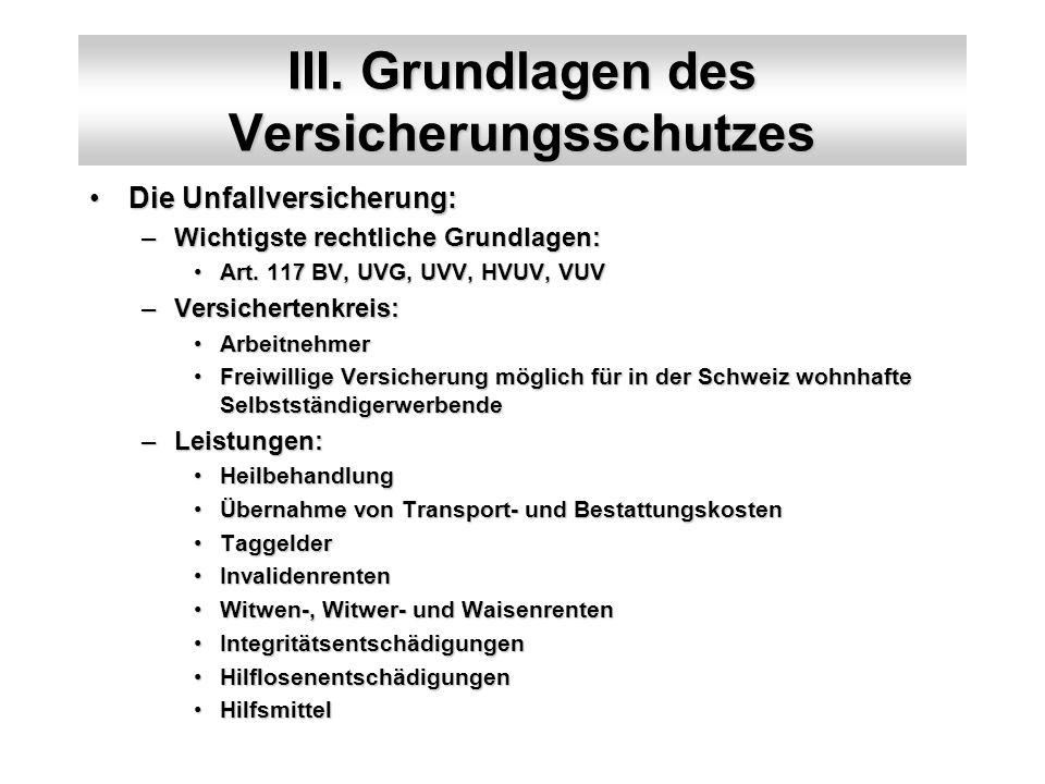 III. Grundlagen des Versicherungsschutzes Die Unfallversicherung:Die Unfallversicherung: –Wichtigste rechtliche Grundlagen: Art. 117 BV, UVG, UVV, HVU