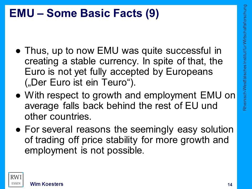 Rheinisch-Westfälisches Institut für Wirtschaftsforschung 14 Wim Koesters EMU – Some Basic Facts (9) ● Thus, up to now EMU was quite successful in creating a stable currency.