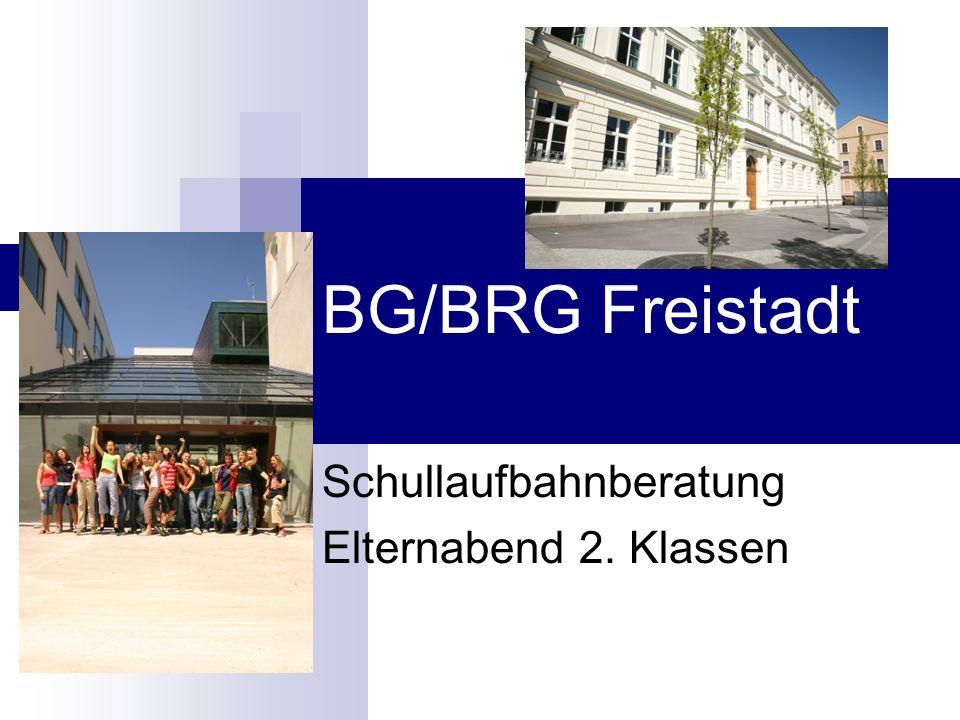BG/BRG Freistadt Schullaufbahnberatung Elternabend 2. Klassen