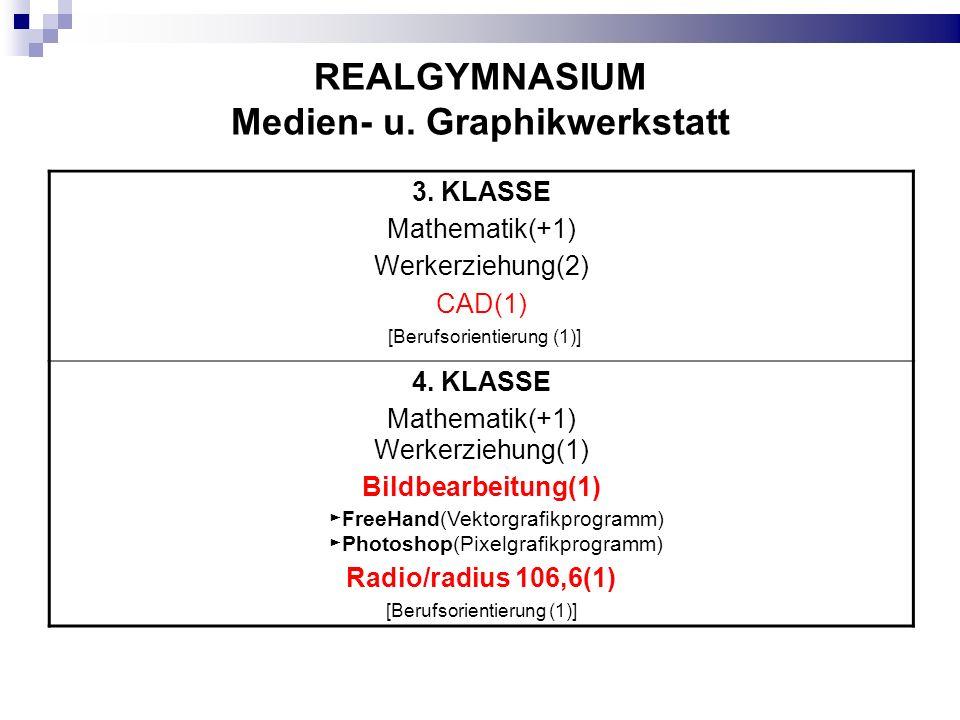 REALGYMNASIUM Medien- u. Graphikwerkstatt 3. KLASSE Mathematik(+1) Werkerziehung(2) CAD(1) [Berufsorientierung (1)] 4. KLASSE Mathematik(+1) Werkerzie