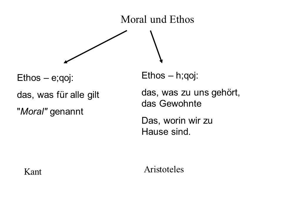 Moral und Ethos Ethos – e;qoj: das, was für alle gilt Moral genannt Ethos – h;qoj: das, was zu uns gehört, das Gewohnte Das, worin wir zu Hause sind.