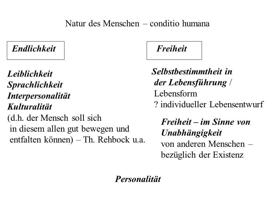 Natur des Menschen – conditio humana Endlichkeit Selbstbestimmtheit in der Lebensführung / Lebensform ? individueller Lebensentwurf Leiblichkeit Sprac