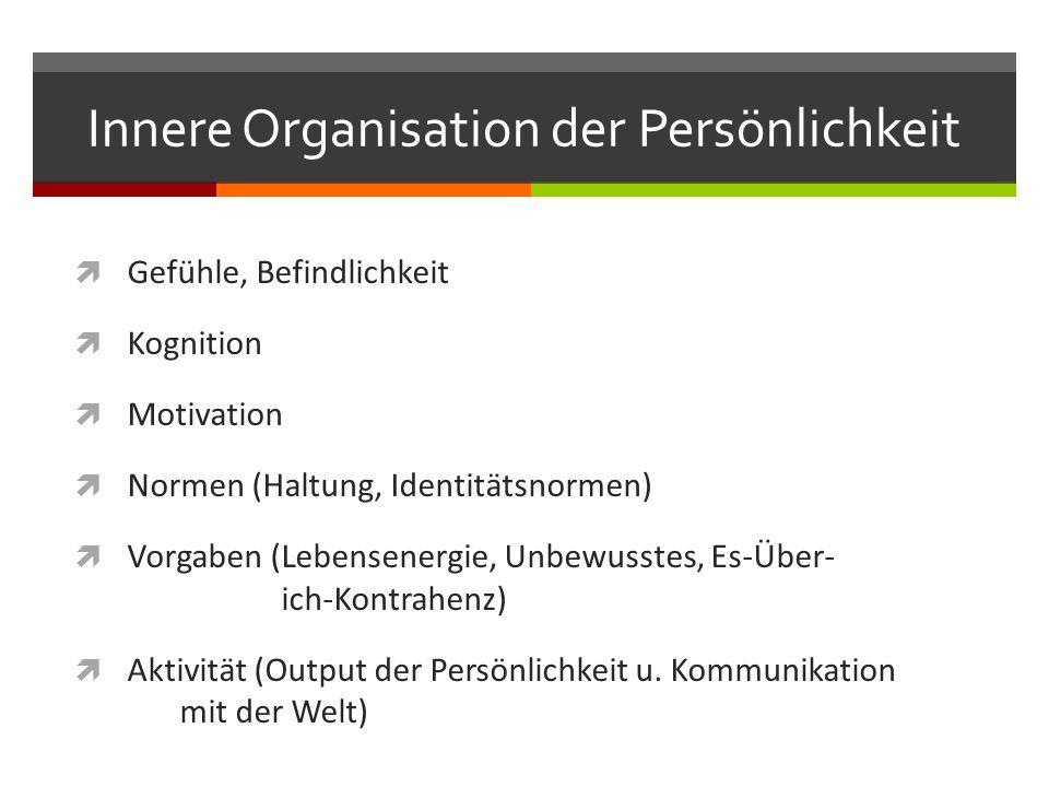 Innere Organisation der Persönlichkeit  Gefühle, Befindlichkeit  Kognition  Motivation  Normen (Haltung, Identitätsnormen)  Vorgaben (Lebensenergie, Unbewusstes, Es-Über- ich-Kontrahenz)  Aktivität (Output der Persönlichkeit u.