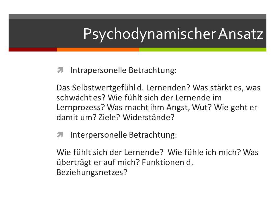 Psychodynamischer Ansatz  Intrapersonelle Betrachtung: Das Selbstwertgefühl d.