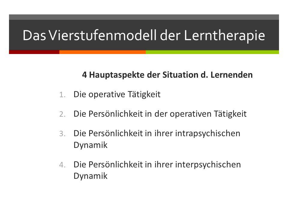 Das Vierstufenmodell der Lerntherapie 4 Hauptaspekte der Situation d.