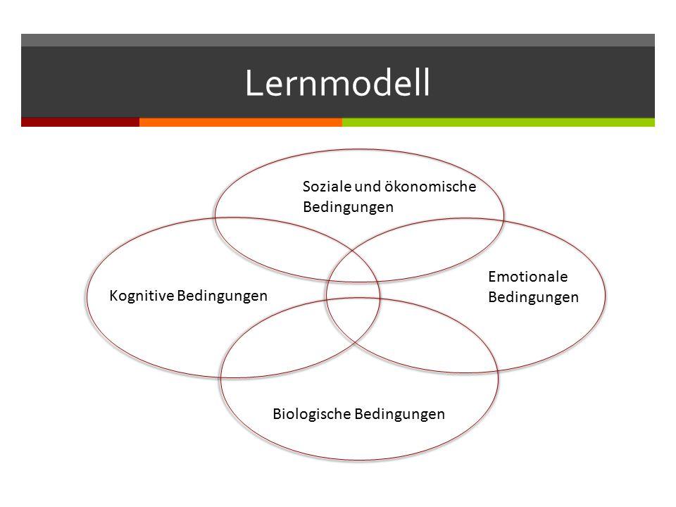 Lernmodell Soziale und ökonomische Bedingungen Emotionale Bedingungen Biologische Bedingungen Kognitive Bedingungen