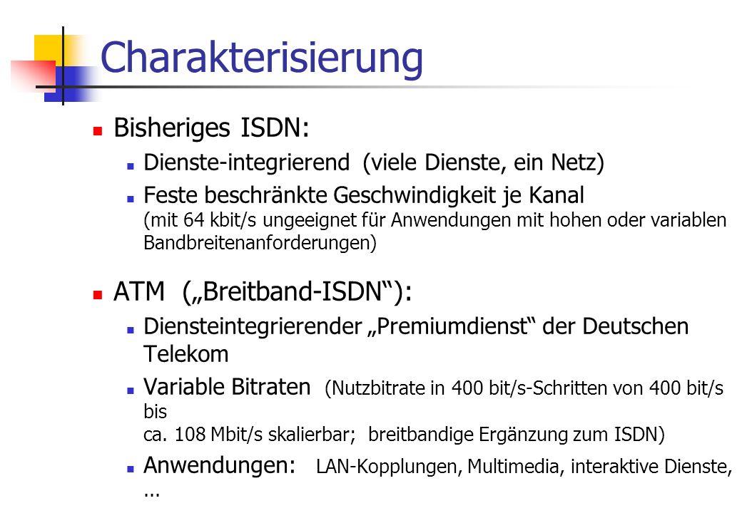 """Charakterisierung Bisheriges ISDN: Dienste-integrierend (viele Dienste, ein Netz) Feste beschränkte Geschwindigkeit je Kanal (mit 64 kbit/s ungeeignet für Anwendungen mit hohen oder variablen Bandbreitenanforderungen) ATM (""""Breitband-ISDN ): Diensteintegrierender """"Premiumdienst der Deutschen Telekom Variable Bitraten (Nutzbitrate in 400 bit/s-Schritten von 400 bit/s bis ca."""