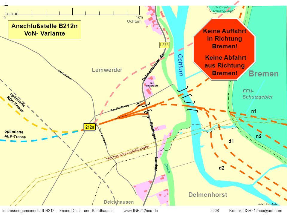 Weser Ochtum Str.Stedinger Landstr. L885 Delmenhorst Stromer Landstr.